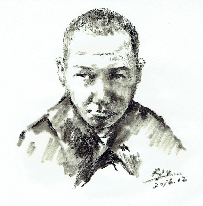 宮沢賢治(写真からの模写)MIYAZAWA Kenji Portrait(Reproduction from photograph)