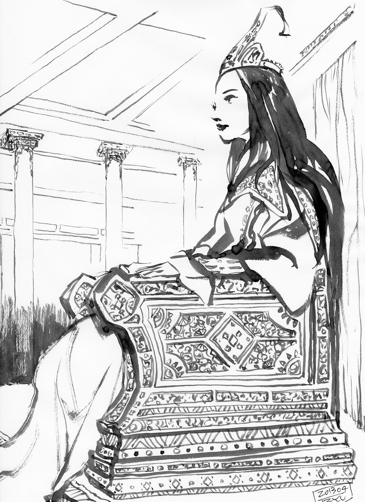 """自作小説『塔の底』挿絵2(scifi illustration""""Queen""""2013)"""
